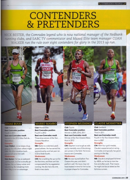 Contenders and Pretenders Comrades Marathon Magazine Souvenir 2013, a quick rundown by Nick Bester and Cuan Walker
