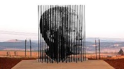 Sculpture of Madiba at the Mandela Capturer Site, the finish of the Mandela Marathon - the #MandelaExperience