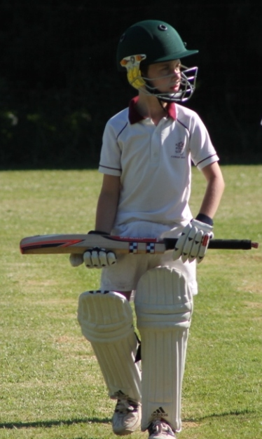 Aiden after being caught out, good ball, good hit into the air - alas magnificent fielding brought his short innings to an abrupt end....